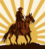 Cowboy on horse ride vintage vector poster Royalty Free Stock Images
