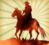 Cowboy on horse ride vintage vector poster Royalty Free Stock Photography