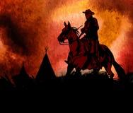 Cowboy on horse ride vintage vector poster. Cowboy on horse ride vintage Stock Photos