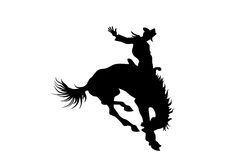 Cowboy on a horse in rodeo. Black silhouette of cowboy on a horse Royalty Free Stock Photo