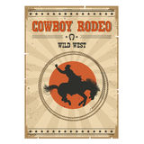 Cowboy horse rodeo poster.Western vintage illustration with text Royalty Free Stock Photo