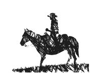 Cowboy on horse. Silhouette of cowboy on horse Stock Photo