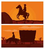 Cowboy on horse silhouette. Vector illustration graphic design Stock Photo