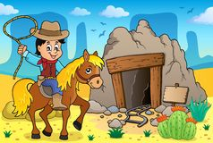 Cowboy on horse theme image 3. Vector illustration Stock Image