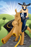Cowboy on horse character cartoon style  illustration Stock Photography