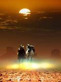 Cowboy and horse under the sun Royalty Free Stock Photo