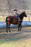 Cowboy and horse. Young cowboy riding his horse on the farm Stock Images
