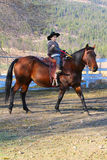Cowboy and horse. Young cowboy riding his horse on the farm Royalty Free Stock Images