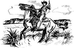 Cowboy On Horseback Stock Image