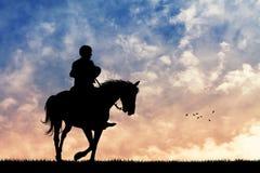 Cowboy horseback. Illustration of cowboy horseback at sunset Royalty Free Stock Photos