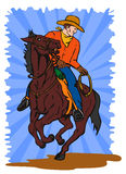 Cowboy on horseback lasso Royalty Free Stock Photo