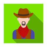 Cowboy icon in flat style isolated on white background. Rodeo symbol. Stock Image