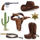 Cowboy Icons de vecteur Image libre de droits