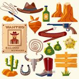 Cowboy icons flat Stock Photography