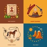 Cowboy icons flat Royalty Free Stock Photos