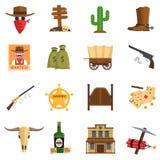 Cowboy Icons Set vektor illustrationer