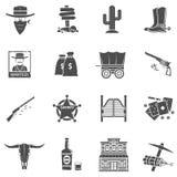 Cowboy Icons Set stock illustrationer