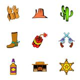 Cowboy icons set, cartoon style Royalty Free Stock Image