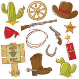 Cowboy Icons Set Royalty Free Stock Images