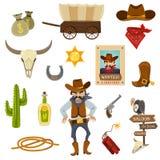 Cowboy Icons Set Stock Photo