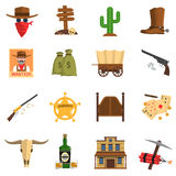 Cowboy Icons Set Stock Images