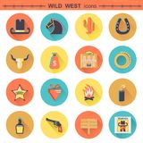 Cowboy icons.Vector wild west pictograms isolated Stock Images