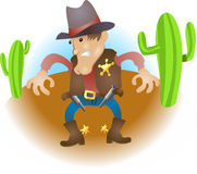 Cowboy illustration. An illustration of a cowboy sheriff gunslinger Stock Photography