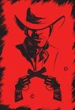 Cowboy im Hut mit Gewehren. Stockbilder