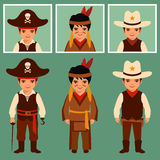 Cowboy, indian and pirate Royalty Free Stock Images