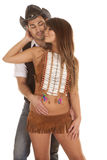 Cowboy and Indian woman in front hand on his face Stock Images