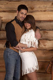 Cowboy and Indian woman white skirt looking Stock Photo