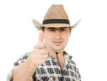 Cowboy indicates the direction. Royalty Free Stock Photos