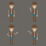 Cowboy indicates in various poses Royalty Free Stock Photo