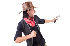 Cowboy isolated. On the white background Stock Photos