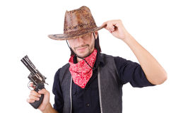 Cowboy isolated. On the white background Royalty Free Stock Images