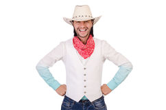 Cowboy isolated. On the white background Royalty Free Stock Photography