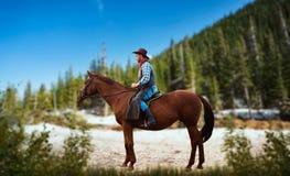 Cowboy in jeans en leerjasje die een paard berijden royalty-vrije stock foto's