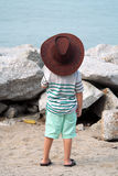 Cowboy Kid on Beach Stock Images