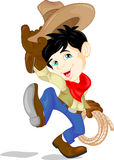 Cowboy kid twirling a lasso Royalty Free Stock Images