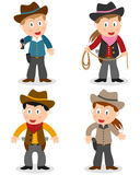 Cowboy Kids Collection. Set of four cartoon cowboy kids (boys and girls), isolated on white background. Eps file available Stock Photos