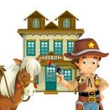 Cowboy - löst västra - illustration för barnen Arkivbilder