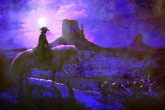 Cowboy la nuit Photo stock