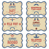 Cowboy labels isolated on white. Vector western cowboy symbols Stock Photo