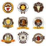 Cowboy Labels Set Stock Images