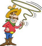 Cowboy with a lasso. Cartoon illustration of a cowboy twirling a lasso Stock Photography