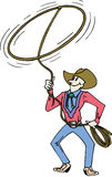 Cowboy with lasso. Cowboy lassoing with rope in the sir Stock Photography
