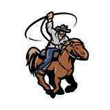 Cowboy with a lasso on a horse. Royalty Free Stock Images