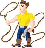 Cowboy with lasso and revolver. Colored illustration in cartoon style of blue eyed blond cowboy dressed in a yellow shirt, blue jeans with metal buckle, brown Stock Photos
