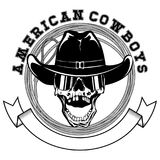 Cowboy lasso var 9. Vector illustration cowboy skull with sunglasses in hat and lasso. Lettering american cowboys Stock Photos