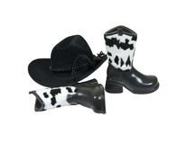 Cowboy Leather Accessories. Including a hat and leather boots with cow spot trim - path included stock photos